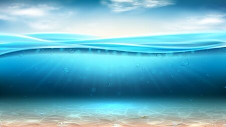 Realistic sea landscape with waves. Vector illustration. Realistic marine scene with sunbeams and sea bottom. Banner with horizontal ocean water surface and clouds.