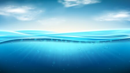 Sea landscape with realistic waves. Vector illustration. Realistic marine scene with underwater sunbeams. Banner with horizontal ocean water surface and clouds.  イラスト・ベクター素材