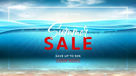 Summer sale promo banner. Realistic sea landscape with waves. Vector illustration. Marine scene with sunbeams and sea bottom. Banner with ocean water surface and clouds. Seasonal discount offer.