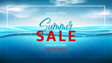 Summer sale promotion banner. Realistic sea landscape with waves. Vector illustration. Marine scene with underwater sunbeams. Banner with ocean water surface and clouds. Seasonal discount offer.