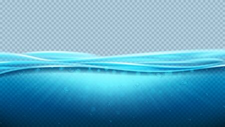 Blue realistic transparent ocean waves. Vector illustration. Realistic deep underwater sea scene with light beams. Banner with horizontal sea water surface.  イラスト・ベクター素材