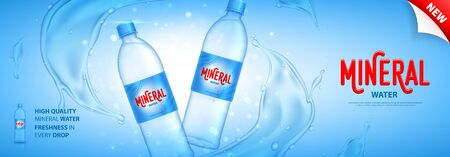 Mineral water promo banner. Realistic plastic bottle with water splashes and drops. Vector illustration with 3d transparent bottles on blue background. Mockup template for promotion of beverages.