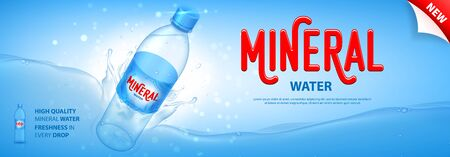 Mineral water promo banner. Realistic plastic bottle with water splashes and drops. Vector illustration with 3d transparent bottle on blue background. Mockup template for promotion of beverages.