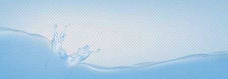 Realistic water splashes isolated on transparent background. Vector illustration with 3d transparent water surface, splashes and drops.