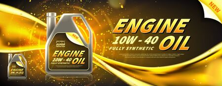 Engine oil advertisement banner. Vector illustration with realistic canister and motor oil current on bright background. 3d ads template.