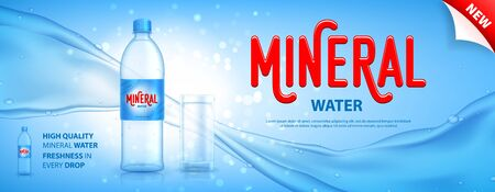 Mineral water promo banner. Realistic plastic bottle with water current and drops. Vector illustration with 3d transparent glass on blue background. Mockup template for promotion of beverages.