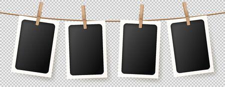 Cadres photo rétro réalistes. Illustration vectorielle avec des cartes photo vierges accrochées à la corde. Concept de maquette isolé sur fond transparent.