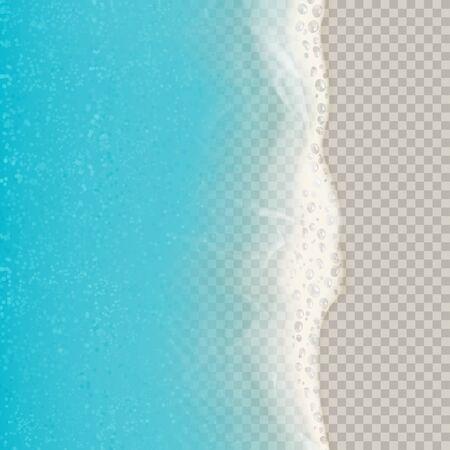 Draufsicht auf Meereswellen auf transparentem Hintergrund isoliert. Vektorillustration mit Luftbild auf realistischen Ozean- oder Meereswellen mit Schaum. Vektorgrafik