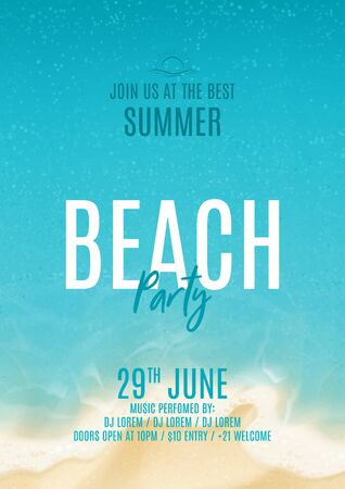 Summer beach party poster. Vector illustration with top view on ocean scene with soft waves on coast. Invitation to nightclub. Ilustracja