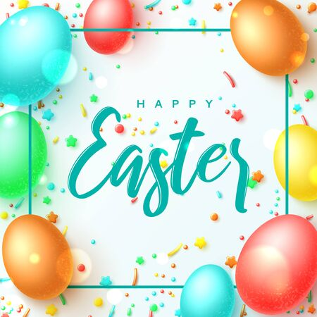 Happy Easter greeting banner. Vector illustration with realistic colorful Easter eggs and sweets. Spring holiday card. Promotion festive background with holiday symbols and satin ribbons.