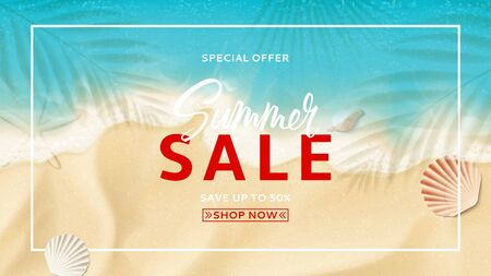 Summer sale banner template. Top view on sea beach with soft waves. Beautiful background with seashells on sea sand. Vector illustration with plant's shadows. Seasonal discount offer. Ilustracja