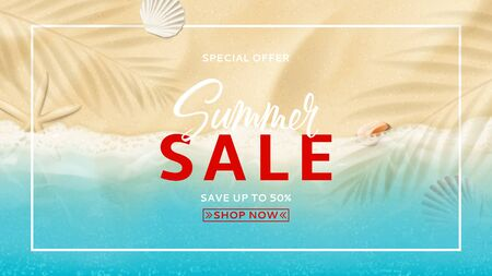 Summer sale banner template concept. Top view on sea beach with soft waves. Beautiful background with seashells on sea sand. Vector illustration with plant's shadows. Seasonal discount offer.