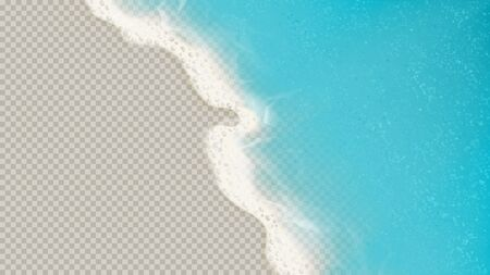 Top view of sea waves isolated on transparent background. Vector illustration with aerial view on realistic ocean or sea waves with foam. Ilustracja