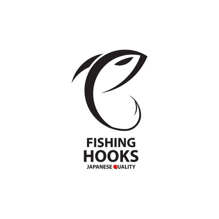 Fishing hooks  template. Creative vector template of fishing club  or online shop. Icon of fish with hook. Vector illustration. Ilustracja