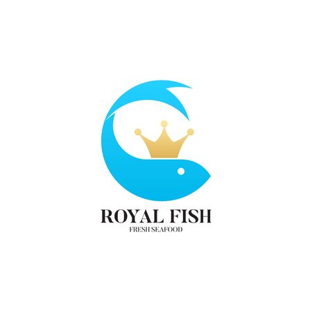 Royal Fish  template. Creative vector template of sea food symbol, fishing club  or online shop icon. Icon of  with gold crown. Vector illustration. Ilustracja
