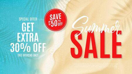 Summer sale banner template. Top view on sea beach with soft waves. Vector illustration with plant's shadows. Seasonal discount offer.