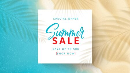 Summer sale web banner template. Top view on sea beach with soft waves. Vector illustration with plant's shadows. Seasonal discount offer.