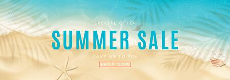 Summer sale horizontal banner. Top view on sea beach with soft waves. Vector illustration with plant's shadows. Beautiful background with seashells on sea sand. Seasonal discount offer.
