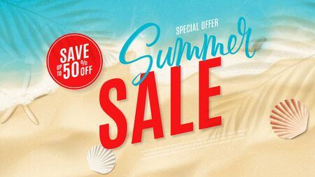 Summer sale horizontal web banner. Top view on sea beach with soft waves. Vector illustration with plant's shadows. Beautiful background with seashells on sea sand. Seasonal discount offer.