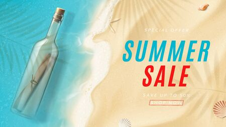 Summer sale promo banner. Top view on sea beach with soft waves, glass bottle with message and seashells on sea sand. Vector illustration with plant's shadows. Seasonal discount offer.
