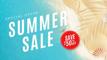 Summer sale banner template. Top view on sea beach with soft waves. Vector illustration with plant's shadows. Beautiful background with seashells on sea sand. Seasonal discount offer.