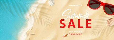Summer sale horizontal banner. Top view on sea beach with soft waves. Vector illustration with plant's shadows. Beautiful background with seashells and red sun glasses. Seasonal discount offer. Ilustracja