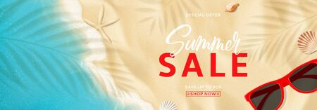 Summer sale promo banner. Top view on sea beach with soft waves. Vector illustration with plant's shadows. Beautiful background with seashells and red sun glasses. Seasonal discount offer. Ilustracja