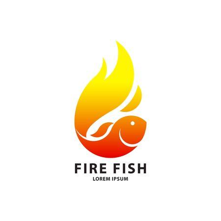 Fire fish logo template. Creative vector template of sea food symbol or restaurant logo. Icon of fish. Vector illustration.