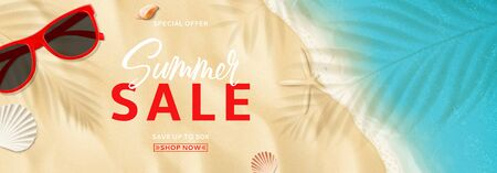 Summer sale promo web banner. Top view on sea beach with soft waves. Vector illustration with plant's shadows. Beautiful background with seashells and red sun glasses. Seasonal discount offer.