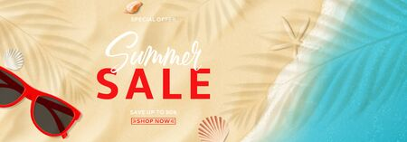 Summer sale ads banner. Top view on sea beach with soft waves. Vector illustration with plant's shadows. Beautiful background with seashells and red sun glasses. Seasonal discount offer.