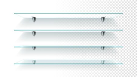Set of realistic glass shelves. Empty transparent glass shelves isolated on checkered background. Vector illustration.