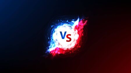 Versus banner with energy power effect. Vector illustration with bright energy ball with fiery effect. VS symbol on dark blue and red background. Ilustracja