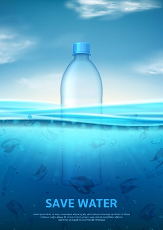 Water pollution concept poster. Stop ocean pollution. Ecology problem concept with polluted water and realistic plastic bottle. Vector illustration with plastic trash in sea. Ilustracja