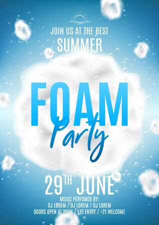 Summer foam party flyer template. Vector illustration with foam explosion with bubbles on blue background. Background with realistic clouds. Invitation to nightclub. Ilustracja