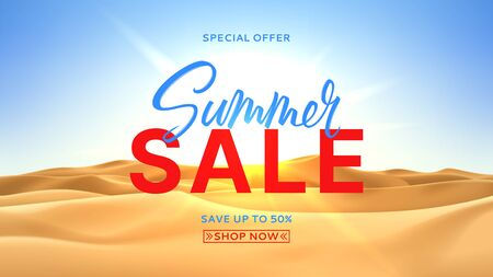 Summer sale banner concept. Realistic desert landscape with sunshine. Beautiful view on realistic sand dunes with sunset. 3d vector illustration of sandy desert. Seasonal discount offer. Zdjęcie Seryjne - 143612142