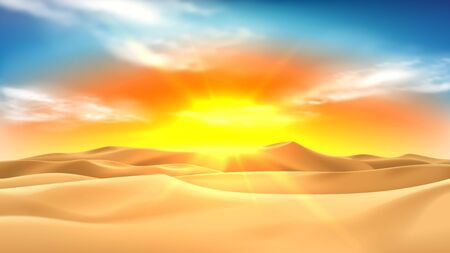 Realistic desert landscape with sunset. Beautiful view on realistic sand dunes with sunset. 3d vector illustration of sandy desert. Ilustracja