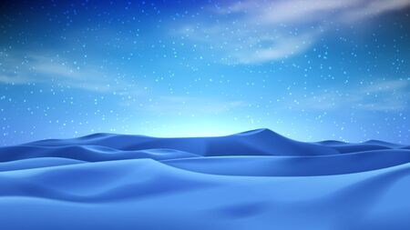 Realistic night desert landscape. Beautiful view on realistic sand dunes with starry sky. 3d vector illustration of sandy desert.
