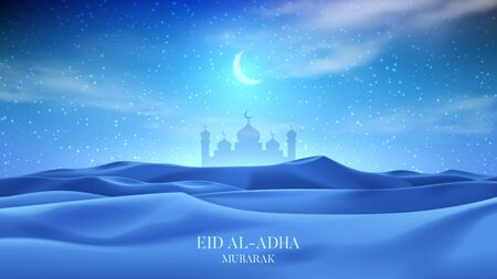 Muslim holiday banner concept. Realistic night desert landscape with starry sky, crescent and clouds. 3d vector illustration with silhouette of mosque. Greeting card for muslim festival Eid Al-Adha.