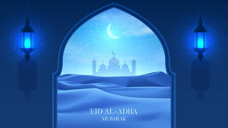 Muslim holiday card concept. Realistic night desert with starry sky, crescent and clouds. 3d vector illustration with silhouette of mosque and lanterns. Greeting card for muslim festival Eid Al-Adha.