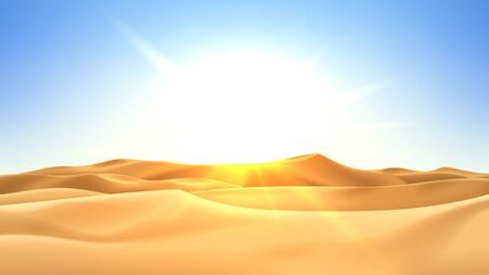 Realistic desert landscape with sunshine. Beautiful view on realistic sand dunes with sunset. 3d vector illustration of sandy desert.