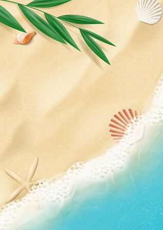 Summer poster with top view on beach. Top view on ocean beach with soft waves and tropical leaf. Beautiful background with seashells on sea sand. Vector illustration.