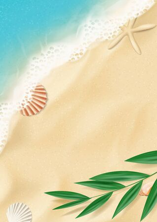 Summer flyer with top view on beach. Top view on ocean beach with soft waves and tropical leaf. Beautiful background with seashells on sea sand. Vector illustration. Ilustracja