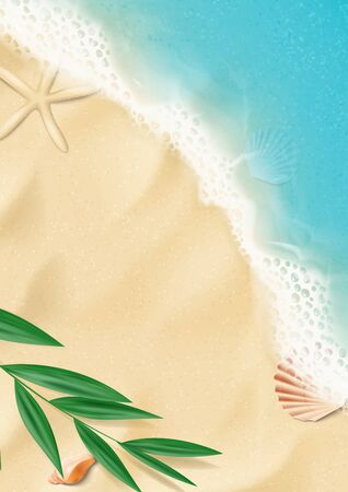 Summer vertical banner with top view on beach. Top view on ocean beach with soft waves and tropical leaf. Beautiful background with seashells on sea sand. Vector illustration. Ilustracja