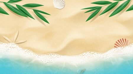 Summer horizontal banner with top view on beach. Top view on ocean beach with soft waves and tropical leaf. Beautiful background with seashells on sea sand. Vector illustration.