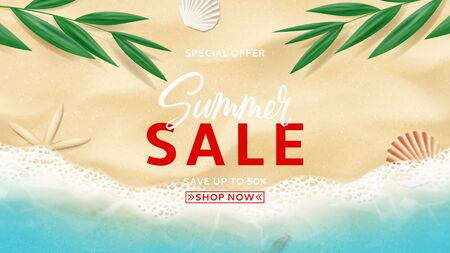 Summer sale banner template. Top view on sea beach with soft waves. Beautiful background with seashells on sea sand. Vector illustration with tropical leaves. Seasonal discount offer.