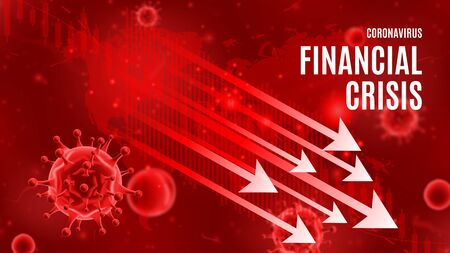 Coronavirus financial crisis banner concept. Background concept with falling arrows and candlestick stock charts. Vector illustration with 3d microscopic bacteria and viruses.