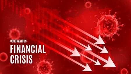 Coronavirus financial crisis vector banner concept. Background concept with falling arrows and candlestick stock charts. Vector illustration with 3d microscopic bacteria and viruses.