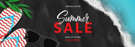 Summer sale horizontal banner. Top view on beach with sea waves. Beautiful background with seashells, tropical leaf, sun glasses and flip flops on sea black sand. Vector illustration.