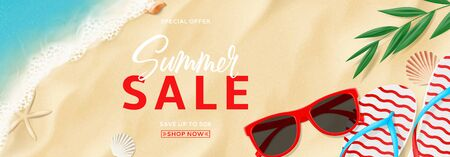 Summer sale banner template. Top view on beach with waves. Beautiful background with seashells, tropical leaf, sun glasses and flip flops on sea sand. Vector illustration. Seasonal discount offer.