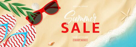 Summer sale promo banner. Top view on beach with waves. Beautiful background with seashells, tropical leaf, sun glasses and flip flops on sea sand. Vector illustration. Seasonal discount offer.